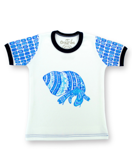 Image showing front side of Hermit Crab kids t-shirt on white background, ocean theme in various tones of blue.