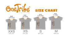 Image showing OneTribe kids t-shirts size chart.