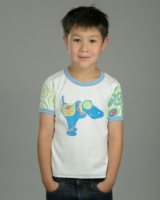 Image showing OneTribe's Blue Dog Monicaco kids t-shirt based on sculptures by late artist Pepe Ozan, Monicacos de Esperanza.