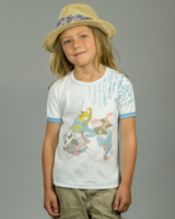 Image showing OneTribe's Ken kids t-shirt depicting a fox a frog and a tiger playing a hand game of rock, paper, and scissors.