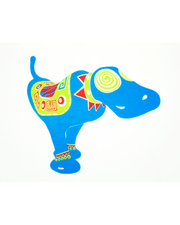Image showing close-up of Blue Dog Monicaco kids t-shirt. Based on late artist Pepe Ozan's Monicacos de Esperanza sculptures.