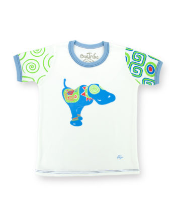 Image showing front side of Blue Dog Monicaco kids t-shirt on white background.