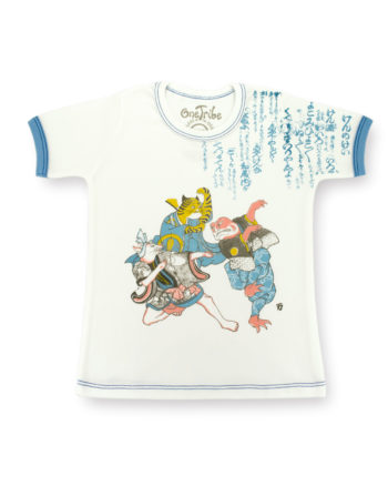 Image showing front side of Ken kids t-shirt of Fox, Tiger and Frog playing hand game of Rock, Paper, Scissors. Based on art by Utagwa Kuniyoshi.
