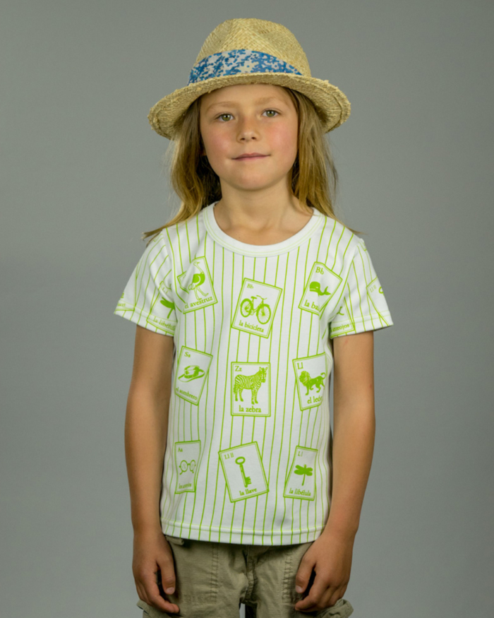 Image showing OneTribe's Spanish Cards kids t-shirt depicting green striped shirt with Spanish language cards
