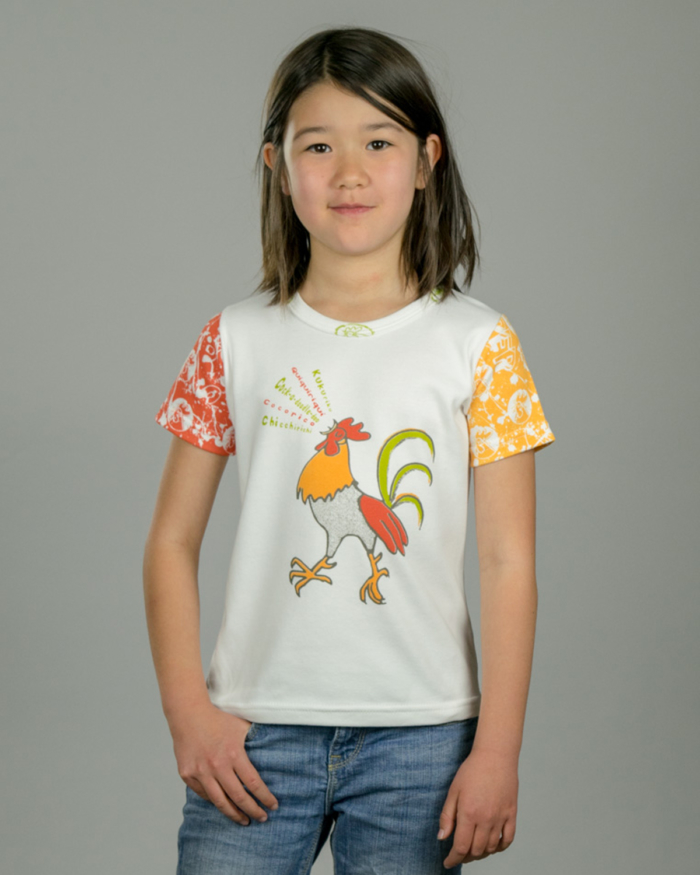Image showing OneTribe's Singing Rooster kids t-shirt on girl model.