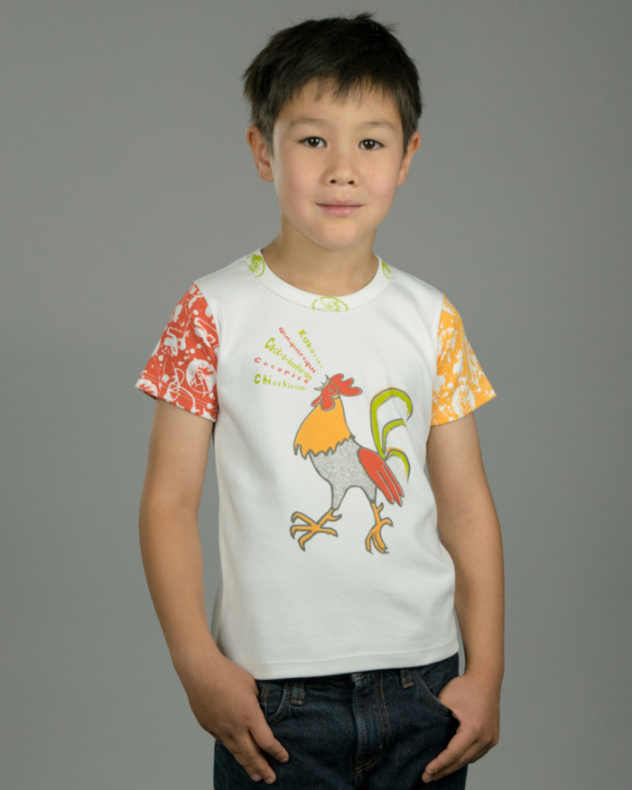 Image showing OneTribe's limited edition Singing Rooster kids t-shirt.
