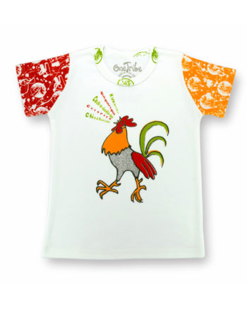 Image showing Singing Rooster kids t-shirt on white background. Rooster singing in five languages. Bright colors include red, orange, green and opaque black.
