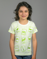 Image showing front side of striped Spanish Cards t-shirt on girl model.