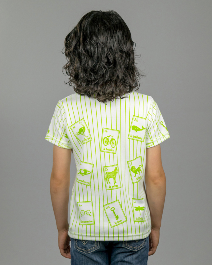 Image showing back side of striped Spanish Cards t-shirt on girl model.