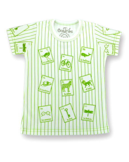 Image showing front side of striped Spanish Cards t-shirt on white background.